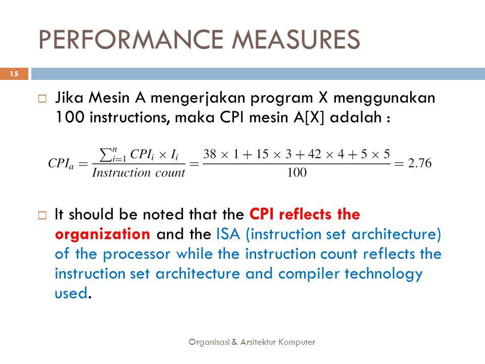 PERFORMANCE MEASURES Jika Mesin A mengerjakan program X menggunakan 100 instructions, maka CPI mesin A[X] adalah :